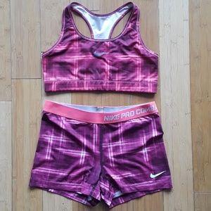 NIKE matching set of shorts and bra